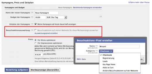 Einstellung Tracking Pixel im Facebook Ad-Manager