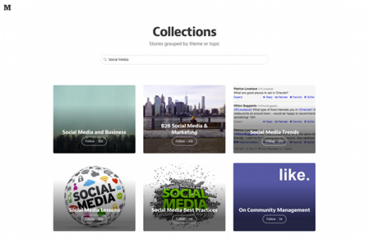 Collections auf Medium zum Thema Social Media. (Screenshot: Medium)
