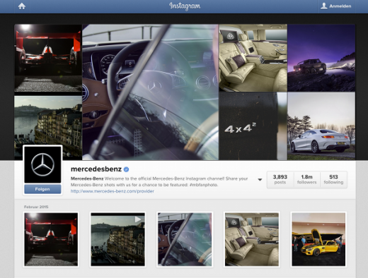 Der Instagram-Account von Mercedes.
